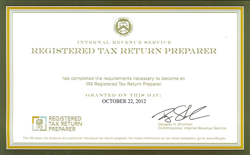 Registered Tax Return Preparer Certification